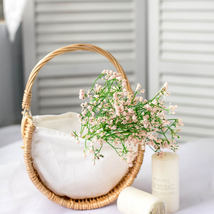 New 1 pcs Basket Strong Sturdy Grass Vine Linen Handmade Woven Half Moon... - $25.00