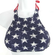 Xhilaration Size S Strappy Halter Swim Top Womens High-Neck Top American Flag - $10.88