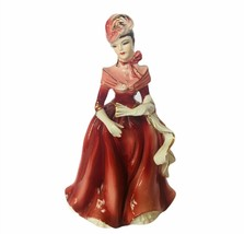 Norcrest Japan figurine antique porcelain Victorian lady red maroon fan ... - $48.33