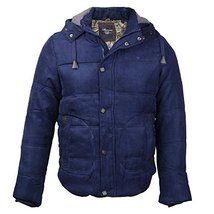 Maximos Men's Multi Pocket Modern Floral Cotton Hooded Jacket (Small, Navy Blue)