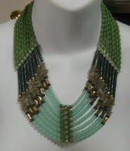 Vintage Lia Sophia Multi-Strand Blue/Green Beaded Necklace  - $35.00