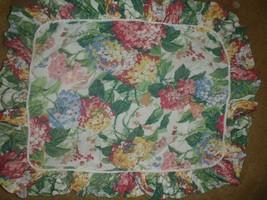 Set of 2 Waverly NEWSTEAD Standard Ruffled Pillow Shams Pink Blue Hydrangeas - $37.39