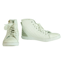 Louis Vuitton Punchy Empreinte Leather High Top Sneakers Ivory off White sz 37,5 - $543.51