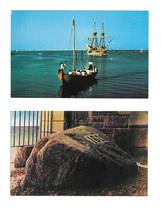 Plymouth Rock and Mayflower II Ship Pilgrim Shaloop Boat 2 MA Postcards - $5.59