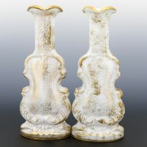 Pair Imperial Milk Glass Violin Vases with Heavy Gold Decor 40s/50s era IG Mark image 3