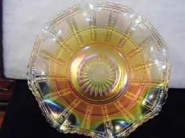 Vintage Carnival Glass Bowl Beaded Block Marigold Ruffled Deep Iridescent Colors - $31.66