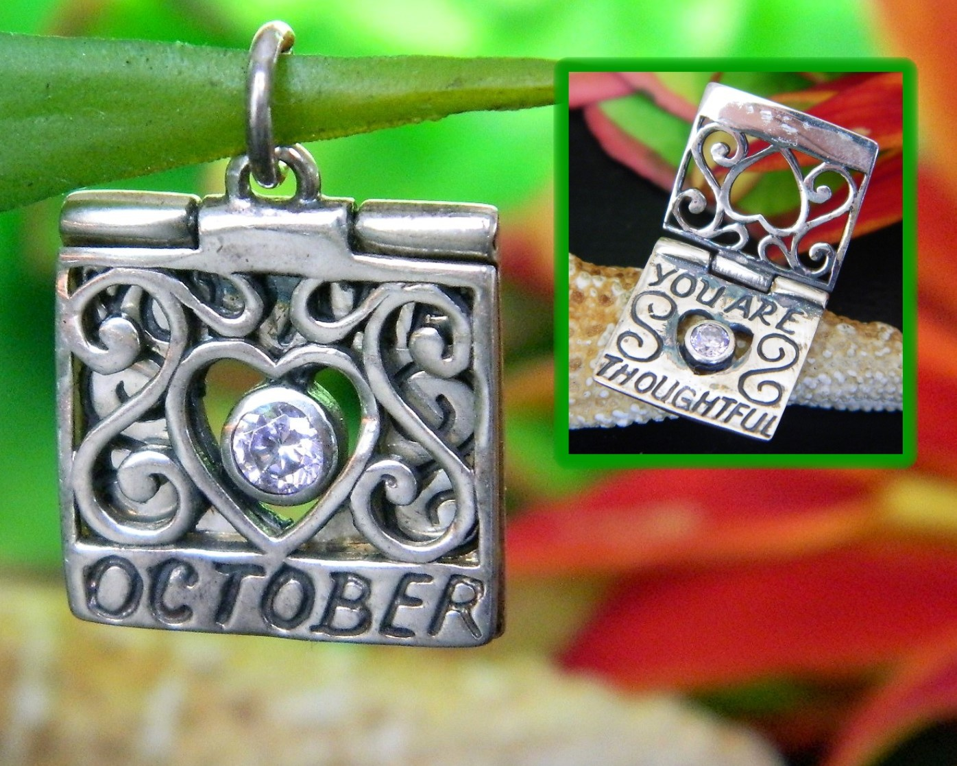 Primary image for Vintage October Birthday Birthstone Charm Sterling Silver Jezlaine Jez