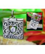 Vintage October Birthday Birthstone Charm Sterling Silver Jezlaine Jez - $17.95