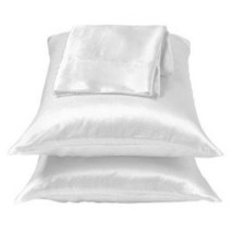 2 Pcs Solid Snow White Charmeuse Lingerie Satin Pillowcases Standard/Queen - $9.99