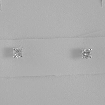 18K WHITE GOLD SQUARE 3 mm EARRINGS DIAMOND DIAMONDS 0.19 CT, MADE IN ITALY