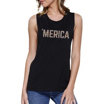 'Merica Womens Black Muscle Tee America Tribal Pattern Lettering - $14.99