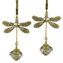 Dragonfly Daze No Monet Earrings Gold Lavender Hand Crafted In USA Hand Painted - $39.99