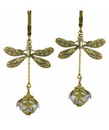 Dragonfly Daze No Monet Earrings Gold Lavender Hand Crafted In USA Hand ... - $39.99
