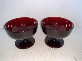 "Vintage Pair Of Anchor Hocking Royal Ruby Sherbets 3 1/2"" - $10.00"