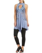 New Free People Tell Tale Heart Mini Dress Tunic Small S Lace Key Hole Blue $108 - $41.58