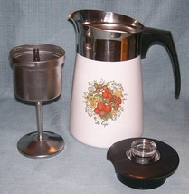 Vintage Corning SPICE OF LIFE Stove Top 6 Cup Coffee Pot / Percolator -P146 VGUC image 1