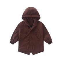 Boy's Trench Coat Letter Printed Hoody Simple Outwear - $38.99