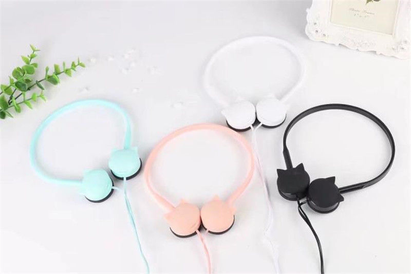 Cute Cat Headphones Pink Colored Stereo Headset Earphones For Samsung Xiaomi Mp3