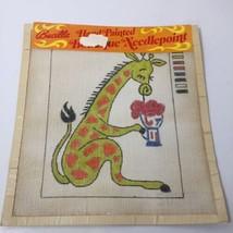 "Giraffe Drinking Soda Needlepoint Canvas Bucilla 13"" x 12"" 12 Count - $29.02"