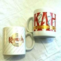 Kahlua Coffee Mugs Liquor Advertising mugs Bar ware Gold Red 2 piece lot  - $26.68