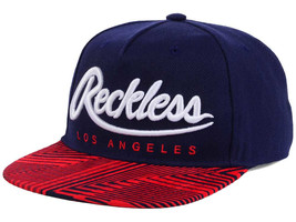 Young And Reckless Los Angeles Big R Script Washed Snapback Hat Cap Blue Red