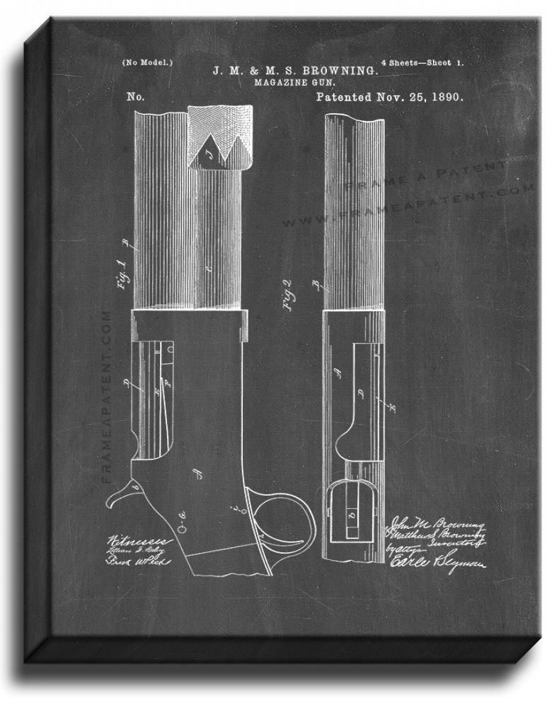 Primary image for Winchester 1893 and 1897 pump action Shotguns Patent Print Chalkboard on Canvas