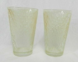 "2 Vintage Drinking Glasses Amber Bamboo Pattern Slight Luster 5"" H - $10.88"