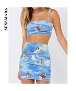 BOOFEENAA Angel Printed Sexy Two Piece Set Crop Top and Skirt Woman Fash... - $36.20