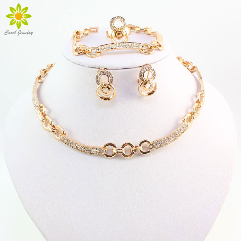 Primary image for Best Selling African Women Gold Color Necklace Earrings Sets Fashion Costume Wed