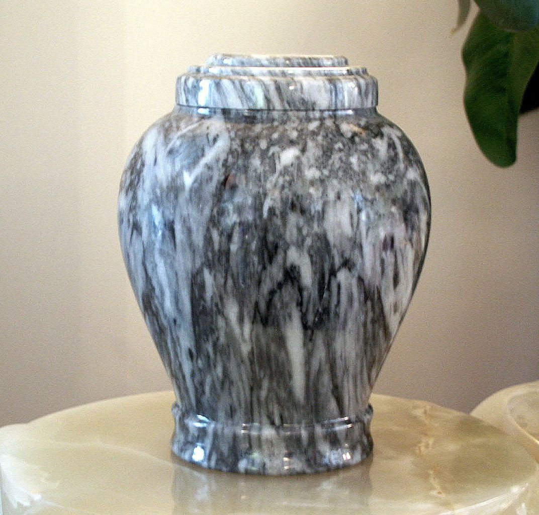 Embrace Cashmere Gray Marble, Gray and White Color, Adult Funeral Cremation Urn