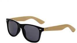 Shiratori Prevent Radiation Classic Bamboo Wood Sunglasses Matte Black - $20.18