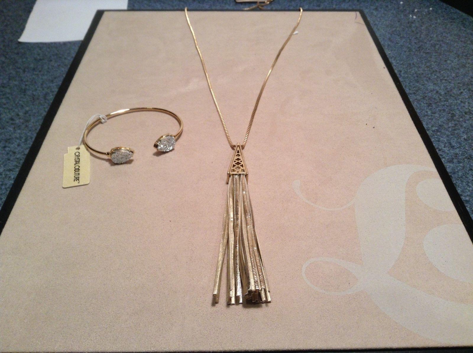 NEW Crystal Couture Gold/Silver Long Necklace w Gem Bracelet Set