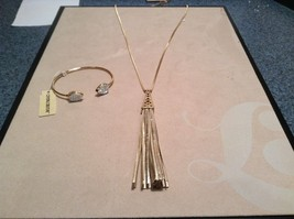 NEW Crystal Couture Gold/Silver Long Necklace w Gem Bracelet Set