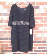 Adrianna Papell Woman new Waisted Lace Dress sz 22 W Black NWT $180.00 - $69.00