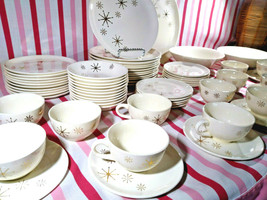 Amazing 1950's Mid Century Modern Atomic Gold Starburst 65pc Dinnerware ... - $225.00