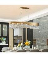 Modern Rectangle Crystal Chandelier Lighting For Living Room LED Hanging... - $1,299.99+