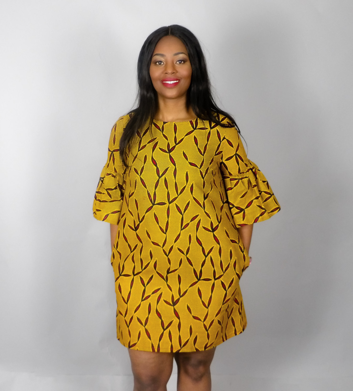 New In Yellow African Print Handmade Shift Dress African