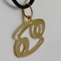 18K YELLOW GOLD ZODIAC SIGN PENDANT, ZODIACAL FLAT CHARM, CANCER, MADE IN ITALY image 3
