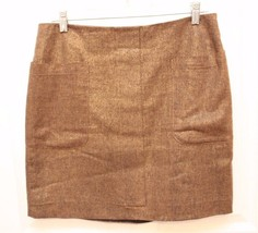 Gap Gold Metallic Brown Straight Skirt Size 6 Career Party Holiday Pockets - $16.80
