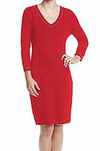 Calvin Klein Women's Beaded Knit Casual Dress Red L - $24.74