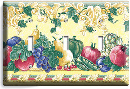 Fresh Fruits Vegetables Victorian Style Triple Light Switch Plates Kitchen Decor - $16.19