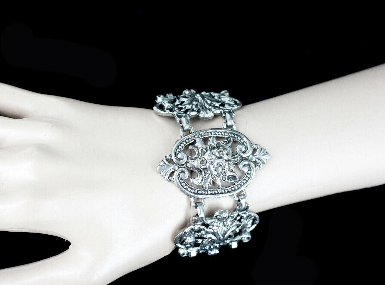 """Vintage Victorian Revival Gothic Gargoyal Lion Ornate Heavy Link Bracelet 7.5"""" image 6"""