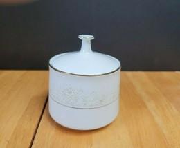 Noritake Dearest China Sugar Bowl White with White & Brown Floral Trim 1... - $9.89