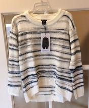 Calvin Klein Jeans Sweater White Pullover Striped New Womens Small - $19.99