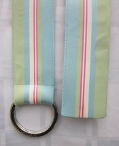 RALPH LAUREN O-RING WIDE RIBBON BELT with STRIPES Signed Engraved Buckle... - $9.49