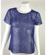 Ann Taylor Loft Womens Size XS Petite XSP Purple Black Floral Sheer Blou... - $13.09