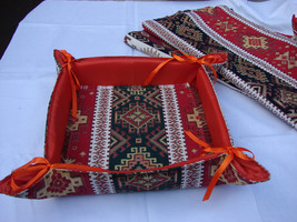 Handmade Fabric Bread Basket Armenian Carpet Ornament, Folding Storage B... - $8.50