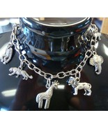Circus charm bracelet anklet antique silver plated metal adj large lobst... - $14.95