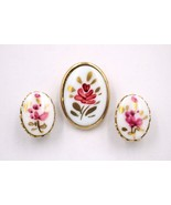 Vintage Romantic Pink Painted Flower Glass Cabochon Brooch Pin Earrings ... - $19.79