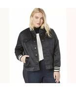 LEVI'S Womens Varsity Trucker Satin Jacket, Black Size 1X - $58.04